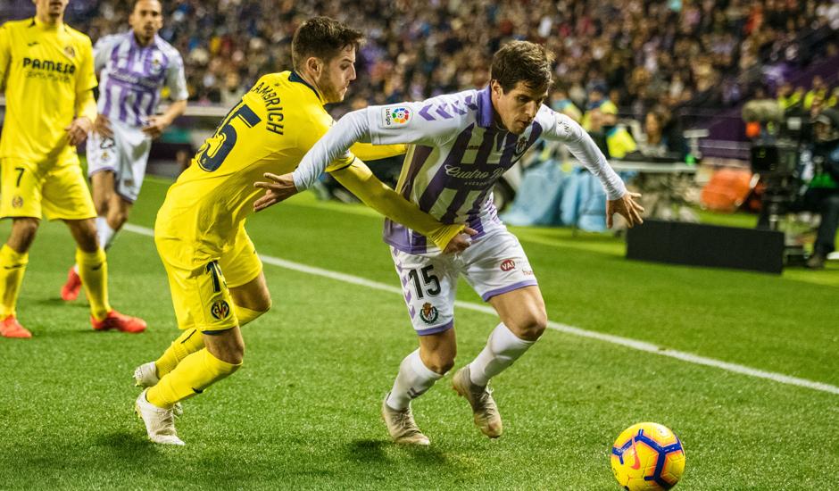 Pablo Hervías en el partido ante el Villarreal